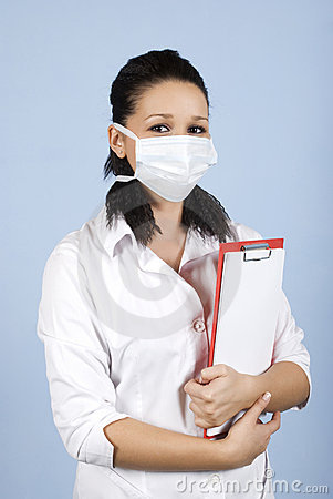 Young doctor with protective mask