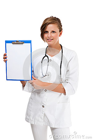 Young doctor standing isolated on white background