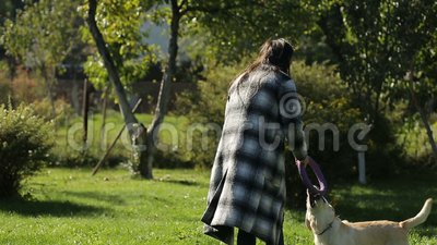 Young dog owner girl playing with her labrador in the green park stock video footage