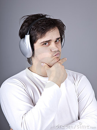 Young doubt men with headphone.
