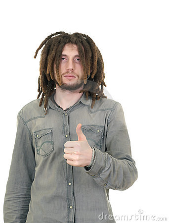 Young dreadlock man isolated