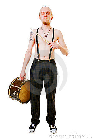 Young drummer on white background