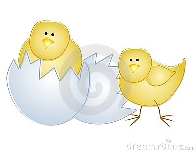 Young Easter Chicks With Egg 2