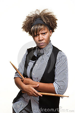 Young Edgy African Girl Drummer