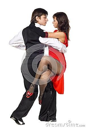 Young elegance tango dancers