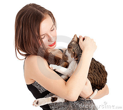 Young elegant woman with grey cat