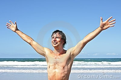 Young energetic man enjoying freedom