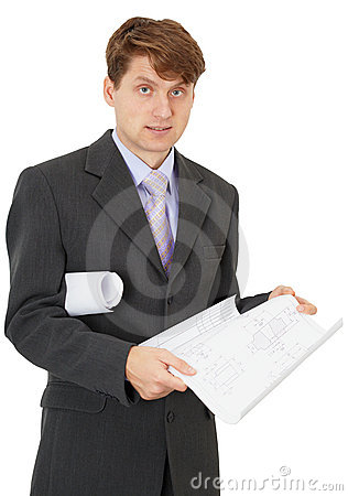 Young engineer with blueprints