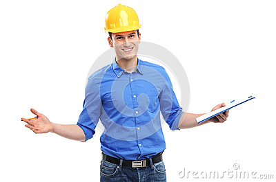 Young engineer gesturing