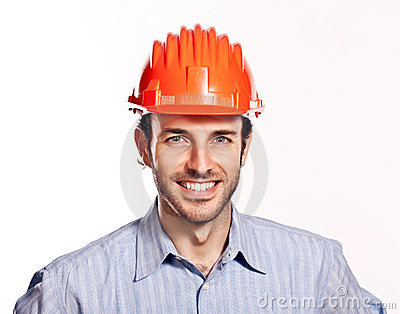 Young engineer think positive isolated on white.
