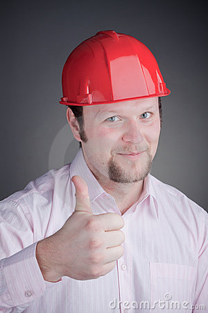 Young Engineer With Thumb Up