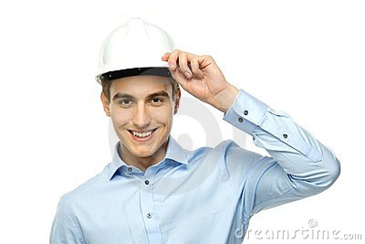 Young engineer wearing hardhat