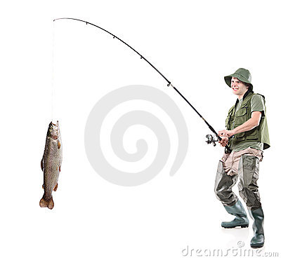 Free Young Euphoric Fisherman Catching A Fish Royalty Free Stock Photos - 12526848