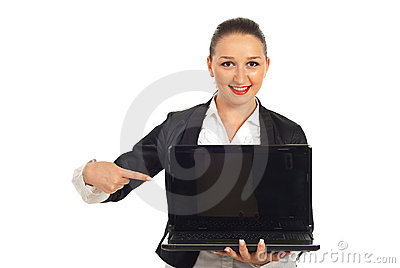 Young executive pointing to laptop screen