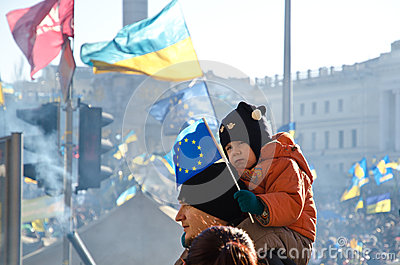 Young family at the Euromaidan in Kiev Editorial Photo