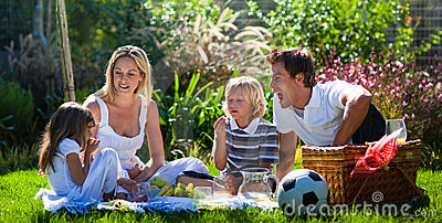 Young family having fun in a picnic