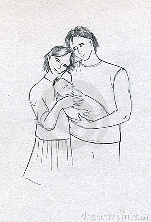 Young family with newborn