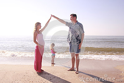Young family  by the sea