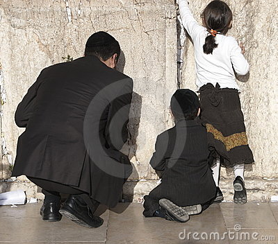 Young family at the Wailing Wall Editorial Stock Photo