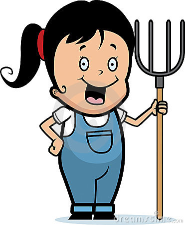 cartoon girl farmer. cartoon girl farmer. A cartoon farmer girl smiling.