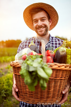Young farmer with basket full of vegetables Stock Photo