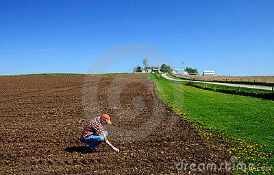 Young farmer checking soil