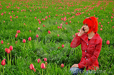Young fashion girl calling on phone
