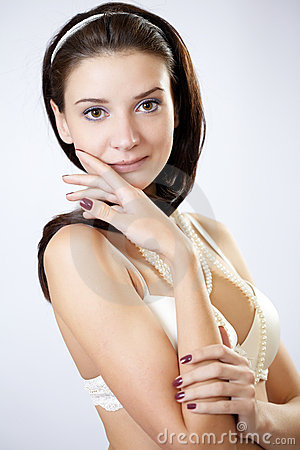 Young fashion model posing in underwear