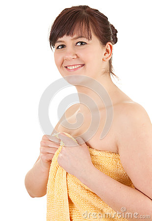 Young fat woman in towel, after shower