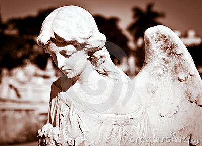 Young female angel in sepia shades