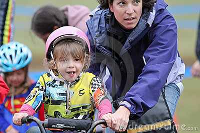 Young Female Bicycle Racer During Cycloross Event Editorial Photography
