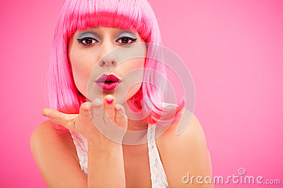 Young female blowing kiss