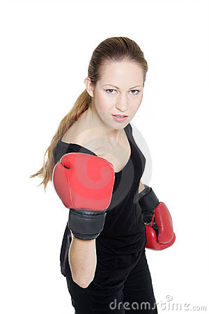 Free Young Female Boxer Over White Royalty Free Stock Image - 16860766