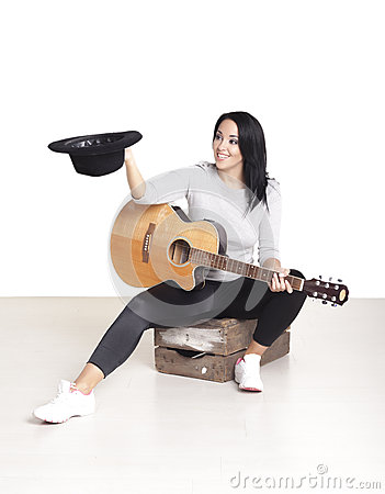 Free Young Female Busker. Royalty Free Stock Image - 62867626