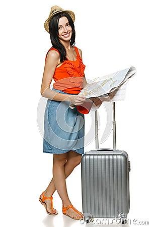 Young female choosing travel destination