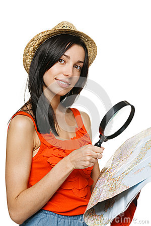 Young female choosing travel destination