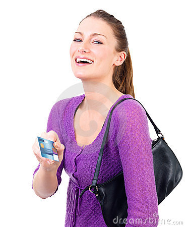 Young female and credit card