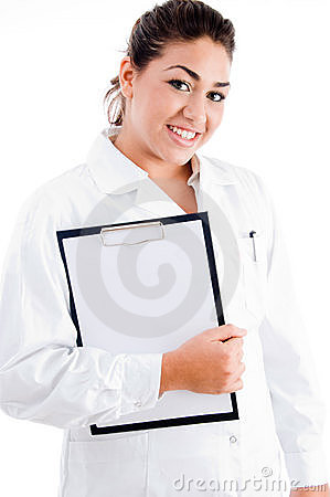 Young female doctor holding writing pad