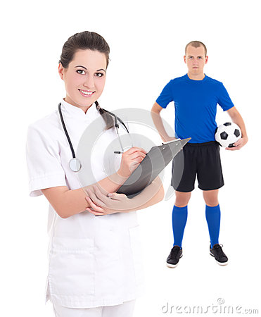 Young female doctor and soccer player in blue on white backgroun