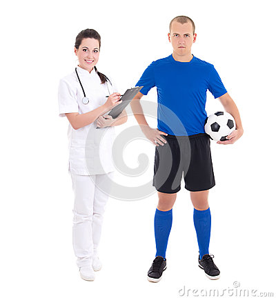 Young female doctor and soccer player on white background