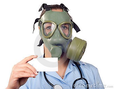 Young female doctor with stethoscope and gas mask