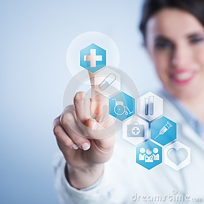 Free Young Female Doctor Using Touch Screen Interface. Stock Photography - 38715152