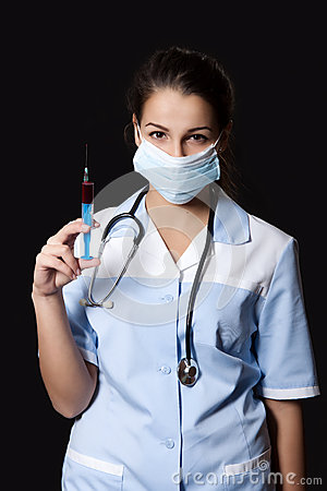 Free Young Female Doctor With Stethoscope And Syringe Stock Photography - 34889062