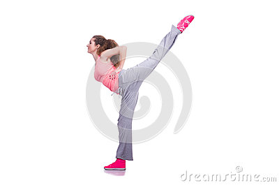 Young female doing exercises