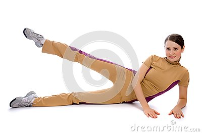 Young female doing fitness