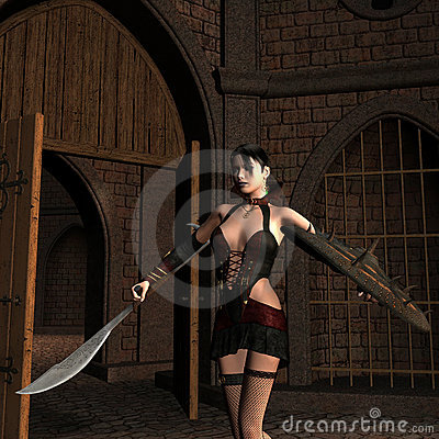 Young female fighter in the Courtyard