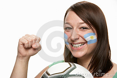 Young Female Football Fan With Argentinian Flag