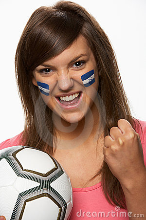Young Female Football Fan With Honduran Flag Paint