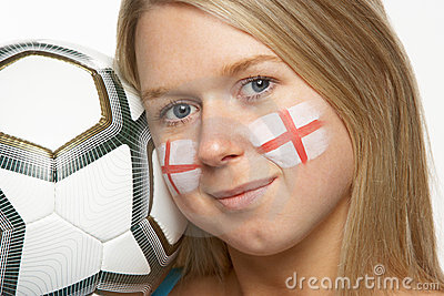 Young Female Football Fan With St Georges Flag