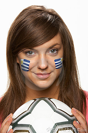 Young Female Football Fan With Uruguayan Flag Pain